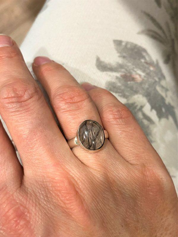 Ring Turmalin in Bergkristall - Silber -Schutz und Sicherheit 1 SanjaNatur