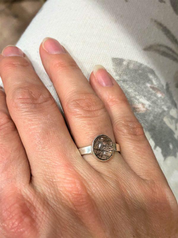 Ring Turmalin in Bergkristall - Silber -Schutz und Sicherheit 2 SanjaNatur
