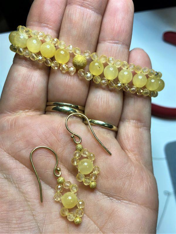 Set: Edelsteinarmband Orangencalzit und Citrin mit passenden Ohrhängern - Mitte und Selbstliebe 1 SanjaNatur