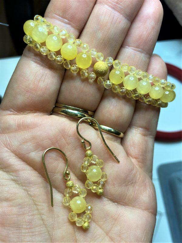 Set: Edelsteinarmband Orangencalzit und Citrin mit passenden Ohrhängern - Mitte und Selbstliebe 3 SanjaNatur