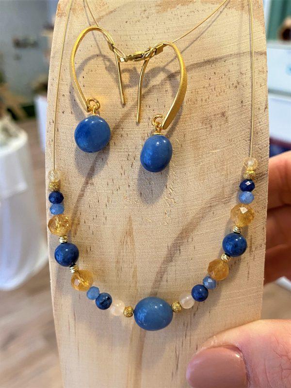 Set: Edelstein-Kette mit passenden Ohrhängern Blauquarz mit Citrin - Gelassenheit 1 SanjaNatur