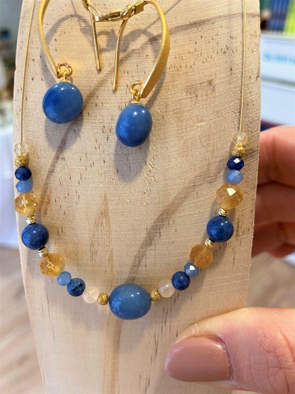 Set: Edelstein-Kette mit passenden Ohrhängern Blauquarz mit Citrin - Gelassenheit 2 SanjaNatur