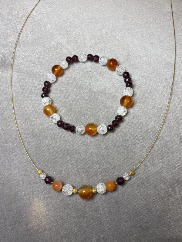 Set: Heilstein Kette mit passendem Armband: Granat mit Carneol und Bergkristall - Energie 2 SanjaNatur