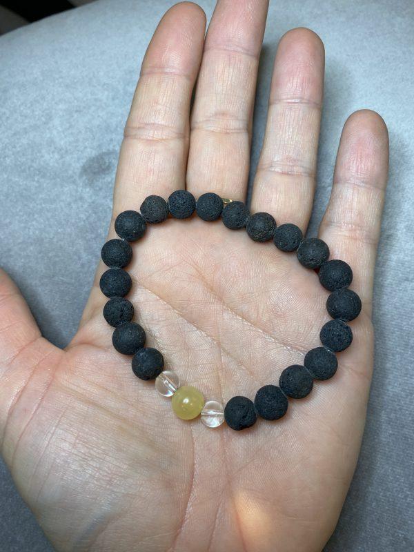 Edelsteinarmband Lava mit Bergkristall und Orangencalzit - Lebensenergie 2 SanjaNatur