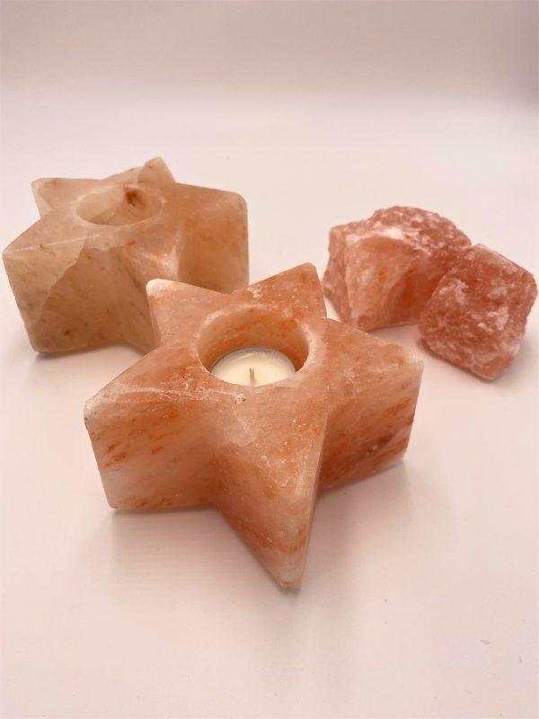 Salzkristall-Teelicht -Stern- Mineralisierung und Ausgleich 2 SanjaNatur