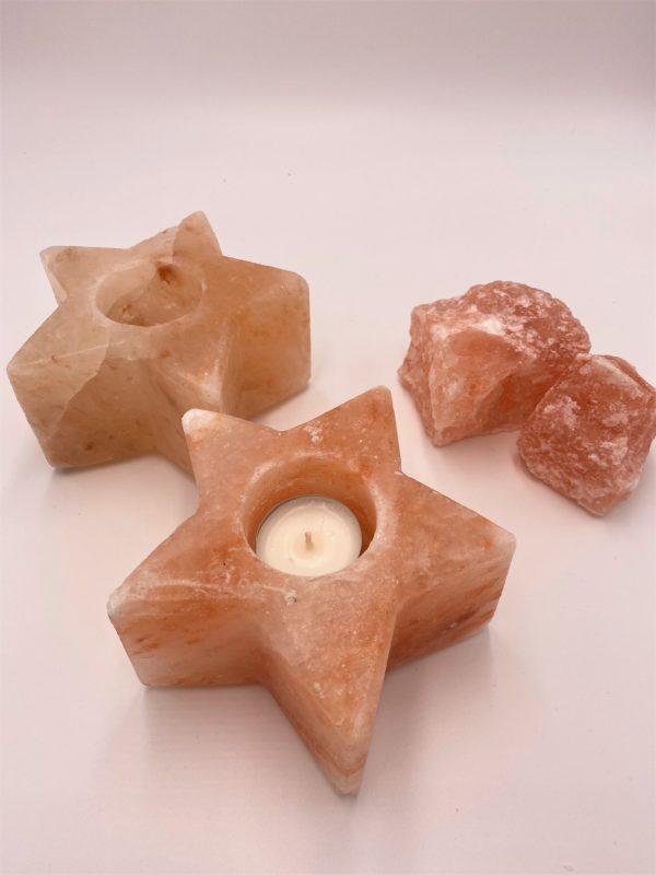 Salzkristall-Teelicht -Stern- Mineralisierung und Ausgleich 1 SanjaNatur