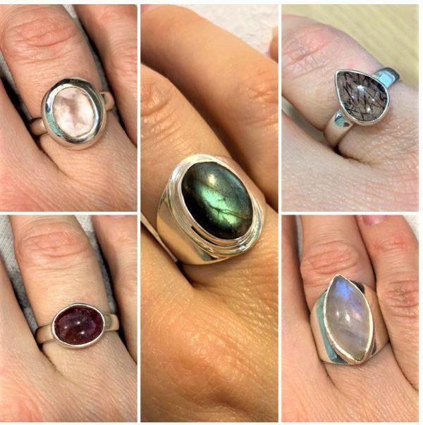 Edelstein-Ringe Silber - verschiedene Ausführungen 1 SanjaNatur