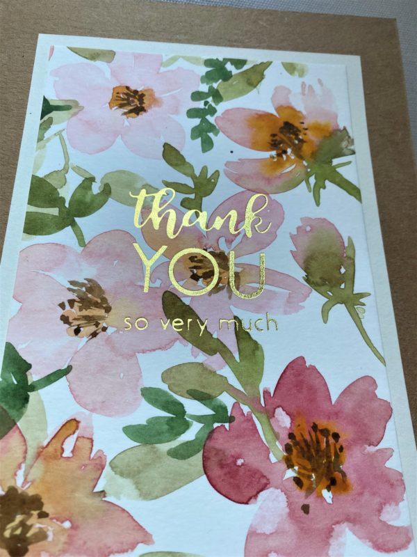 Dankeskarte groß 21 cm- Blumen - thank you 1 SanjaNatur