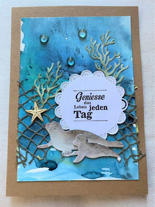 Wunschkarte 17,5 cm- unter Wasser - Genuss 1 SanjaNatur