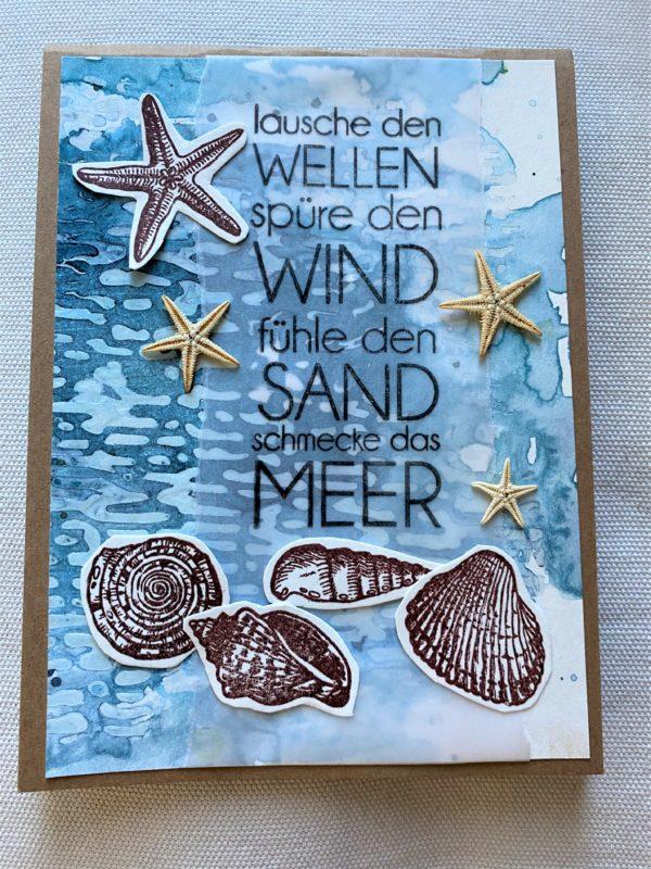 Wunschkarte 15 cm - Muscheln uns Meer 1 SanjaNatur