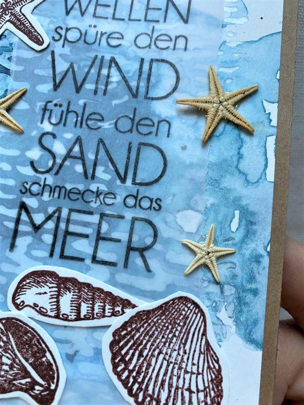 Wunschkarte 15 cm - Muscheln uns Meer 2 SanjaNatur