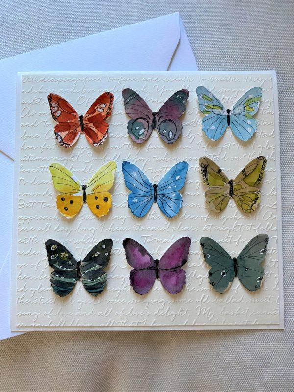 Geschenkkarte 15 cm- bunte Schmetterlinge 1 SanjaNatur