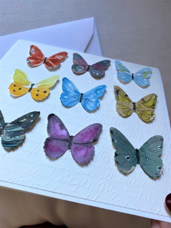Geschenkkarte 15 cm- bunte Schmetterlinge 2 SanjaNatur