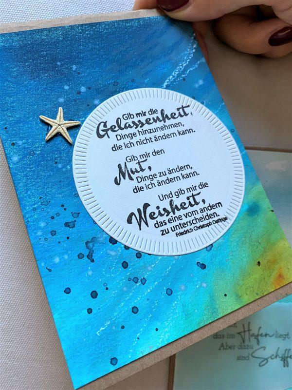 Set: Geschenkkarten 15 cm- Wasser - Gelassenheit und Meer 4 SanjaNatur