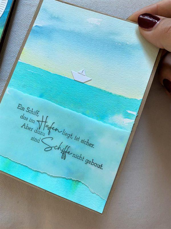 Set: Geschenkkarten 15 cm- Wasser - Gelassenheit und Meer 3 SanjaNatur