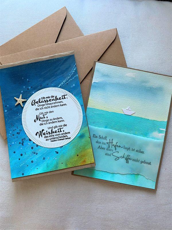 Set: Geschenkkarten 15 cm- Wasser - Gelassenheit und Meer 2 SanjaNatur