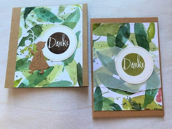 Set: Dankeskarten 15 cm- Olivenblatt - Danke 1 SanjaNatur