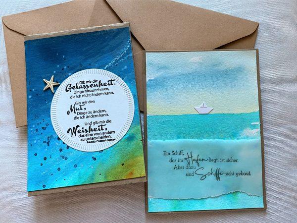 Set: Geschenkkarten 15 cm- Wasser - Gelassenheit und Meer 1 SanjaNatur