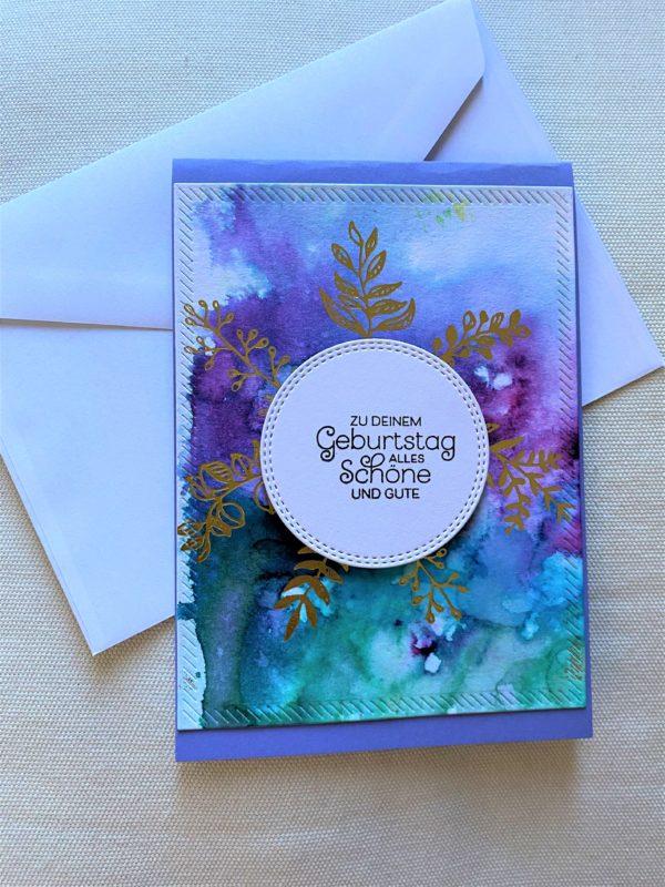 Wunschkarte 15 cm- lila-türkis-gold - Zum Geburtstag 1 SanjaNatur