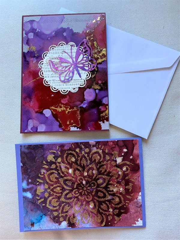 Set: Wunschkarten 15 cm- purple-gold - Achtsamkeit 1 SanjaNatur