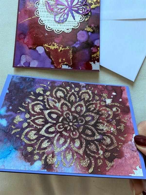 Set: Wunschkarten 15 cm- purple-gold - Achtsamkeit 2 SanjaNatur