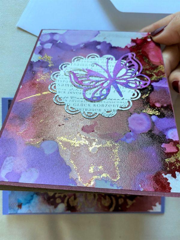 Set: Wunschkarten 15 cm- purple-gold - Achtsamkeit 4 SanjaNatur