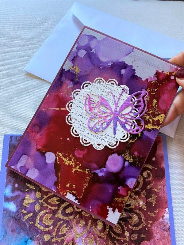 Set: Wunschkarten 15 cm- purple-gold - Achtsamkeit 3 SanjaNatur