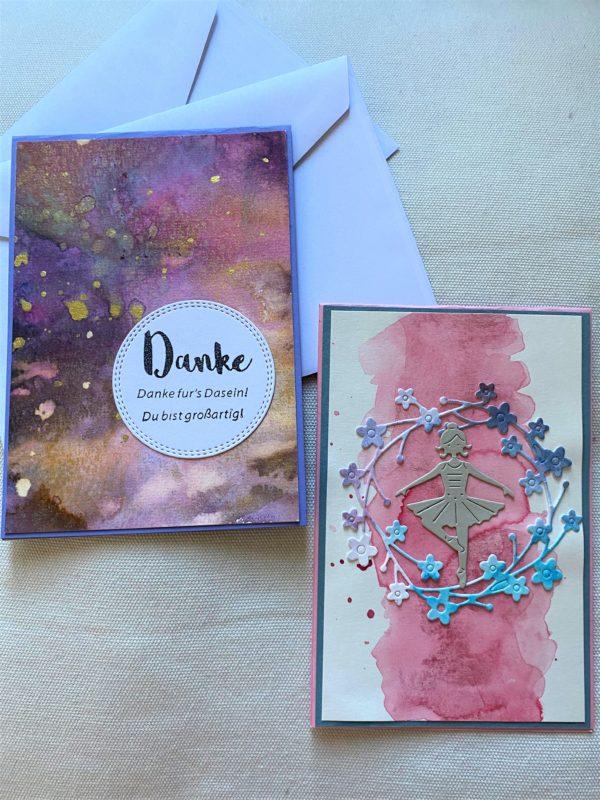 Set: Geschenkkarten 15 cm - Pastell - Danke 1 SanjaNatur