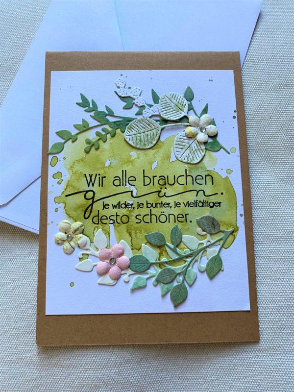 Wunschkarte 15 cm- Blumen - Grün 1 SanjaNatur