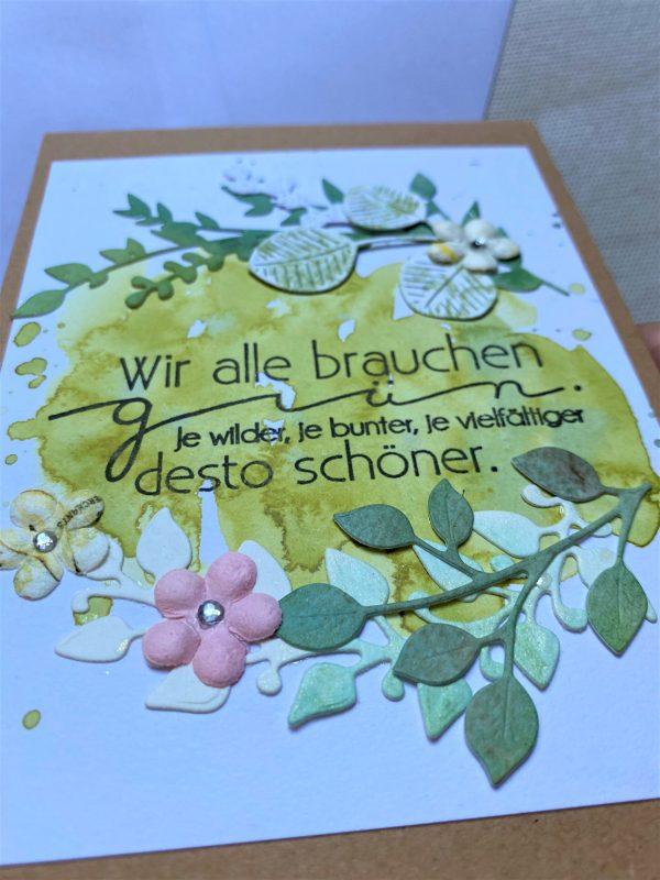 Wunschkarte 15 cm- Blumen - Grün 2 SanjaNatur