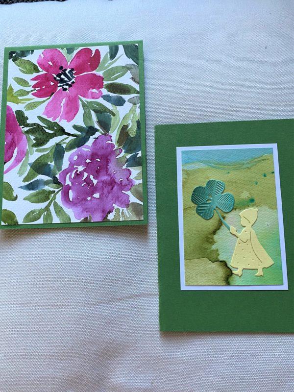Set: Geschenkkarten 15 cm- Blumen und Kleeblatt 1 SanjaNatur