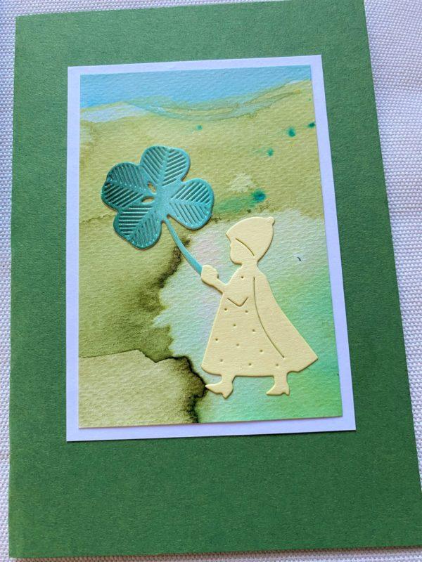 Set: Geschenkkarten 15 cm- Blumen und Kleeblatt 3 SanjaNatur