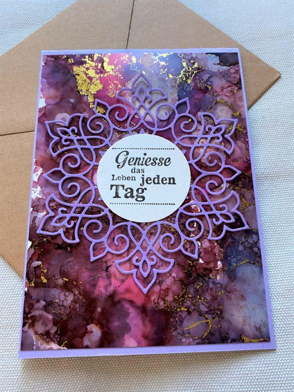 Wunschkarte 15 cm- purple-gold - Genuss 1 SanjaNatur