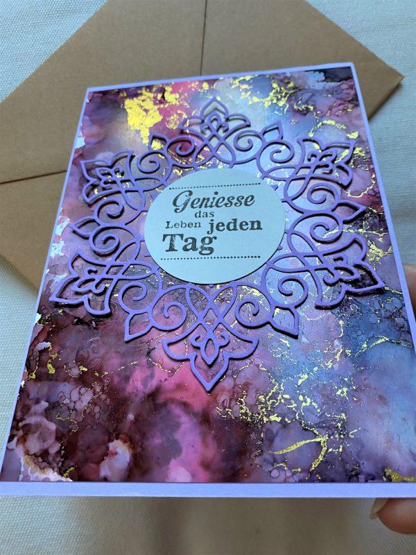 Wunschkarte 15 cm- purple-gold - Genuss 4 SanjaNatur