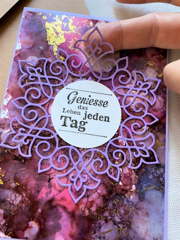Wunschkarte 15 cm- purple-gold - Genuss 2 SanjaNatur