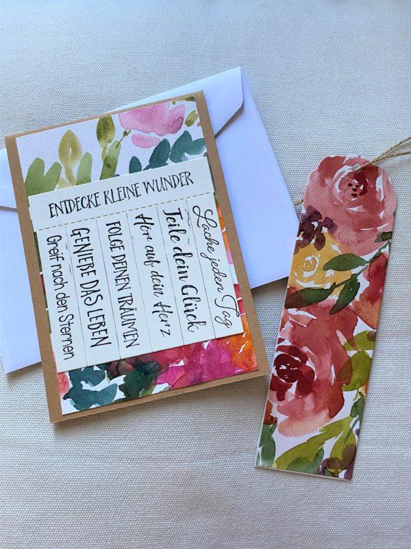 Set: Wunschkarte 15 cm mit Lesezeichen - Blumen - Wunder 1 SanjaNatur