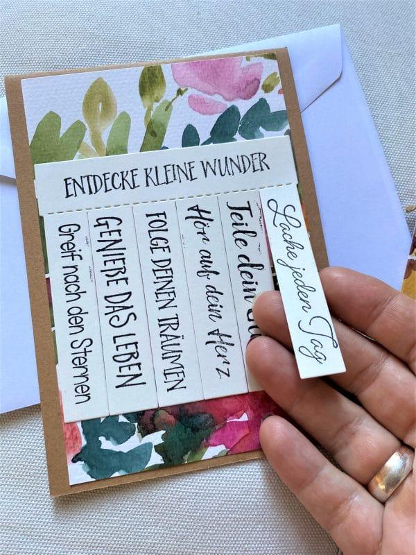 Set: Wunschkarte 15 cm mit Lesezeichen - Blumen - Wunder 2 SanjaNatur