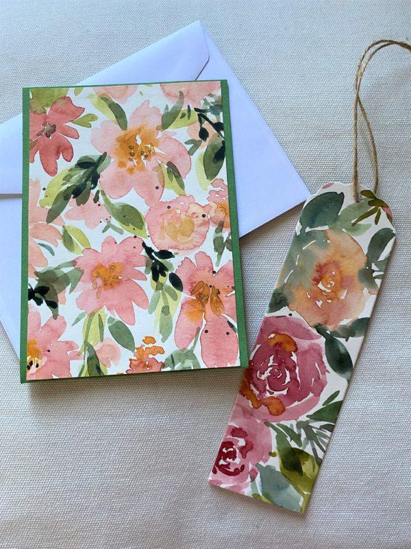 Set: Blumenkarte 15 cm mit Lesezeichen - Blüten 1 SanjaNatur