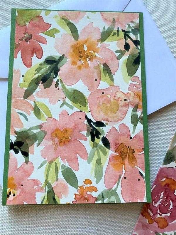Set: Blumenkarte 15 cm mit Lesezeichen - Blüten 2 SanjaNatur
