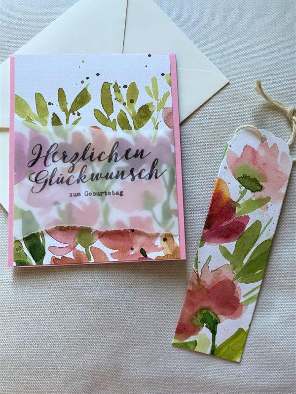 Set: Wunschkarte 15 cm mit Lesezeichen - Blumen - Herzlichen Glückwunsch 1 SanjaNatur