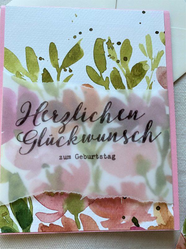 Set: Wunschkarte 15 cm mit Lesezeichen - Blumen - Herzlichen Glückwunsch 2 SanjaNatur