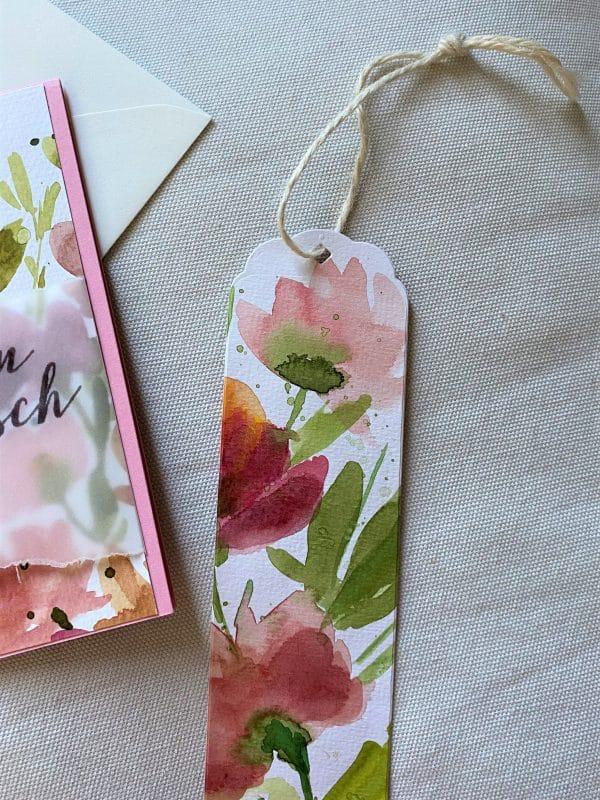 Set: Wunschkarte 15 cm mit Lesezeichen - Blumen - Herzlichen Glückwunsch 3 SanjaNatur
