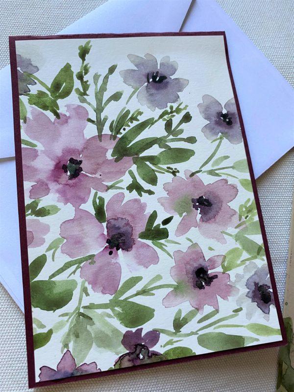 Set: Wunschkarte 15 cm mit Lesezeichen - lila Blüten 2 SanjaNatur