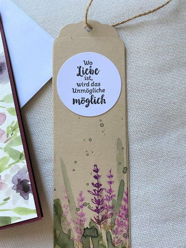 Set: Wunschkarte 15 cm mit Lesezeichen - lila Blüten 3 SanjaNatur