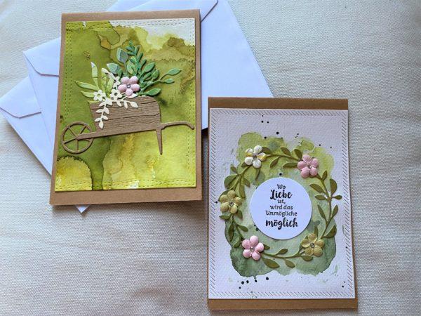 Set: Dankeskarten 15 cm- Blumen - Sommergarten 1 SanjaNatur