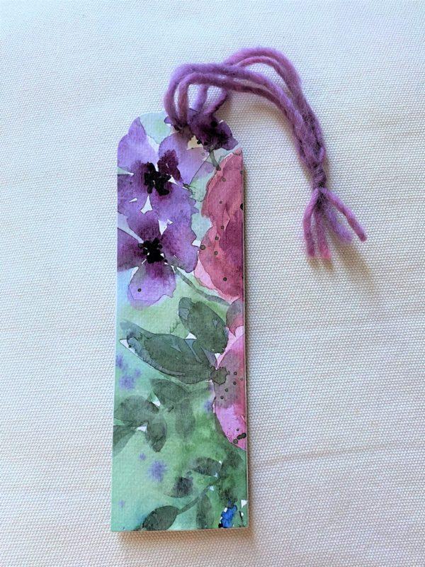 Lesezeichen groß 16,5 cm- Blumen - purple Design 1 SanjaNatur