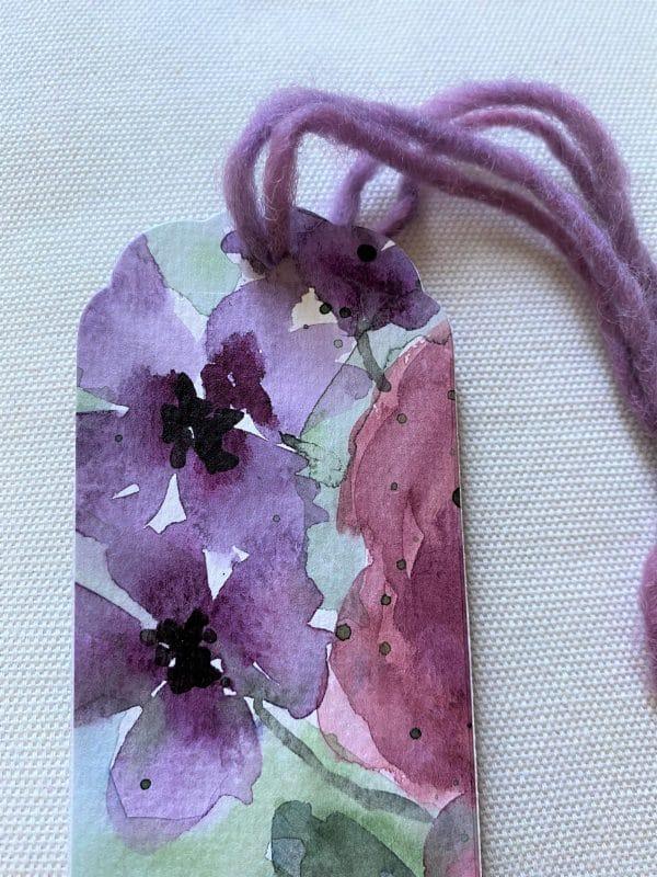 Lesezeichen groß 16,5 cm- Blumen - purple Design 2 SanjaNatur