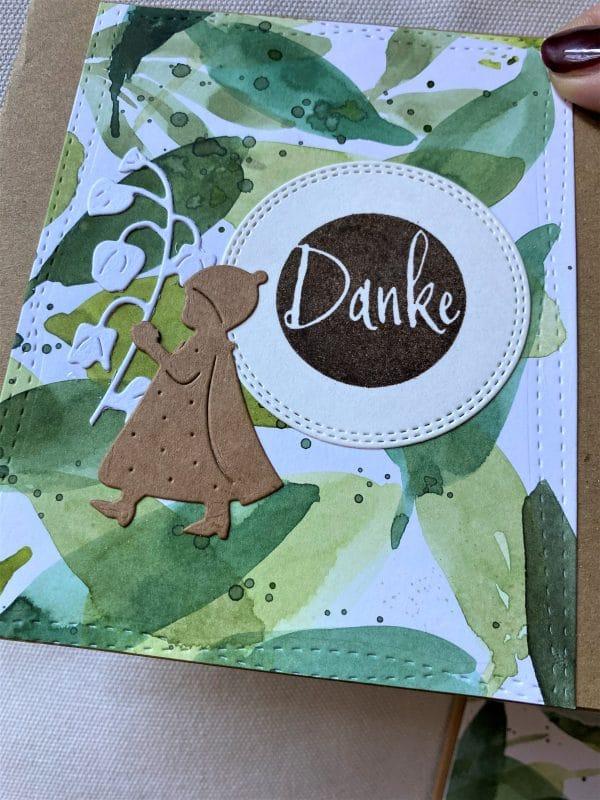 Set: Dankeskarten 15 cm- Olivenblatt - Danke 2 SanjaNatur