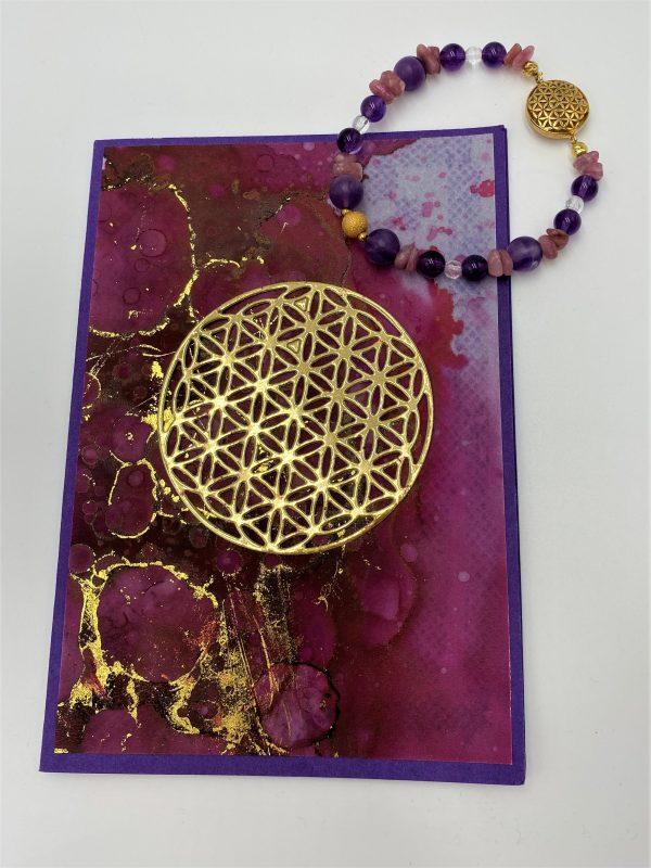 Edelsteinarmband Amethyst, Rhodochrosit, Bergkristall mit Geschenkkarte - Harmonie 4 SanjaNatur