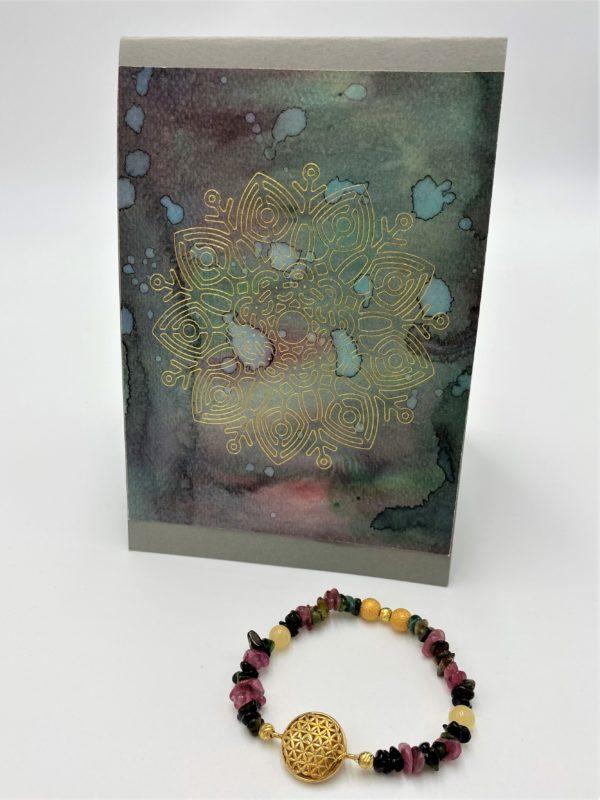Edelsteinarmband bunter Turmalin mit Orangencalzit und Geschenkkarte - Schutz und Ausgeglichenheit 2 SanjaNatur
